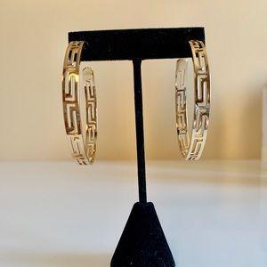 Greek Theme Hoop Earrings